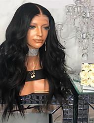 billiga -Äkta peruker med hätta Kinky Rakt Stil Middle Part Spetsfront Peruk Mörkbrun Svart Syntetiskt hår 26 tum Dam Dam Mörkbrun Peruk Lång Naturlig peruk