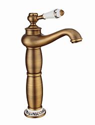 Недорогие -Ванная раковина кран - Широко распространенный Античная медь / Золотой / Электропокрытие По центру Одной ручкой четыре отверстияBath Taps