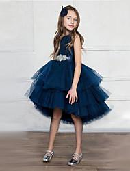 levne -Princess Asymetrické Šaty pro květinovou družičku - Satén / Tyl Bez rukávů Klenot s Pásek / Křišťály / Bižuterie podle LAN TING Express