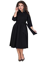 tanie -Damskie Podstawowy Elegancja Linia A Pochwa Sukienka - Solidne kolory, Patchwork Ściągana na sznurek Midi