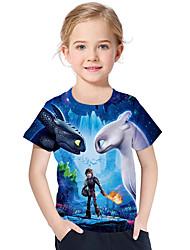 abordables -Enfants / Bébé Fille Actif / Basique Imprimé Imprimé Manches Courtes Polyester / Spandex Tee-shirts Bleu clair