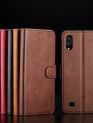 Недорогие -Кейс для Назначение SSamsung Galaxy A6 (2018) / A6+ (2018) / Galaxy A7(2018) Кошелек / Бумажник для карт / Флип Чехол Однотонный Твердый Кожа PU / ТПУ