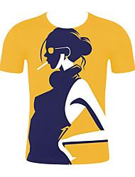 저렴한 -남성용 기하학 / 3D 티셔츠 옐로우 XXL