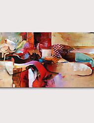 Недорогие -Hang-роспись маслом Ручная роспись - Люди Телесный Modern Без внутренней части рамки