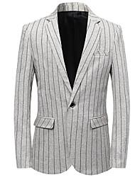 preiswerte -Schwarz / Marineblau / Hell Gray Gestreift Schlanke Passform Polyester Anzug - Fallendes Revers Einreiher - 1 Knopf