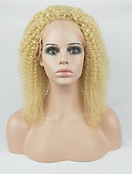 ราคาถูก -วิกผมจริง มีลูกไม้ด้านหน้า วิก Deep Parting สไตล์ ผมบราซิล Kinky Curly ทอง วิก 130% Hair Density การแต่งกายที่ง่าย คุณภาพที่ดีที่สุด มาใหม่ สบาย ทอง สำหรับผู้หญิง วิกผมแท้ yingcai