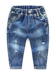abordables -Enfants Garçon Basique / Chic de Rue Couleur Pleine Troué / Déchiré Coton Pantalons Bleu