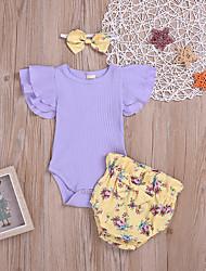 abordables -bébé Fille Bohème Fleur A Volants Sans Manches Normal Normal Coton Ensemble de Vêtements Lavande