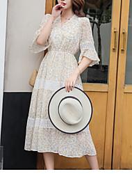 abordables -Femme Mi-long Gaine Robe Beige Bleu clair M L XL Manches Courtes