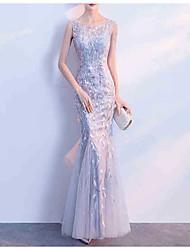 preiswerte -Trompete / Meerjungfrau Schmuck Boden-Länge Tüll Kleid mit Muster / Druck / Spitzeneinsatz durch LAN TING Express