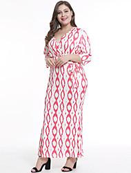 billige -kvinders maxi løse skift kjole dyb v rødme pink blå l xl xxl xxxl