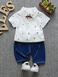 abordables -bébé Garçon Actif / Basique Fruit Mosaïque / Imprimé Manches Courtes Normal Normal Coton Ensemble de Vêtements Blanc