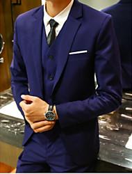 preiswerte -Schwarz / Marineblau / Hell Gray Solide Schlanke Passform Polyster Anzug - Fallendes Revers Einreiher - 1 Knopf