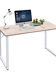 Недорогие -современный компьютерный стол из белого металлического каркаса с верхом из натурального дерева