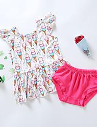 levne -Dítě Dívčí Základní Květinový Tisk Krátký rukáv Standardní Standardní Bavlna Sady oblečení Světlá růžová