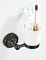Недорогие -держатель зубной щетки с черным тиснением в стиле ретро / вешалка для полотенец кантри / старинная керамика / из латуни 1шт - ванная комната / ванна для ванной комнаты на стене