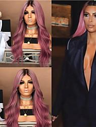 Недорогие -Парики из натуральных волос на кружевной основе Естественные прямые Стиль Средняя часть Без шапочки-основы Парик Темно-коричневый Темно-красный Искусственные волосы 26 дюймовый Жен. Женский