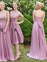 preiswerte -A-Linie Illusionsausschnitt Pinsel Schleppe Chiffon / Spitze Brautjungfernkleid mit Spitze durch JUDY&JULIA