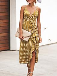 저렴한 -여성용 베이직 스윙 드레스 - 기하학, 패치 워크 비대칭