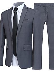 abordables -Noir / Marine / Gris Couleur Pleine Coupe Slim Coton Costume - Cranté Droit 1 bouton