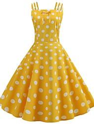 Χαμηλού Κόστους -Γυναικεία Swing Φόρεμα - Πουά, Φιόγκος Patchwork Μίντι