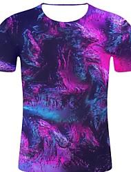 お買い得  -男性用 プリント Tシャツ ロック / 誇張された 3D / 虹色 / グラフィック パープル XXL