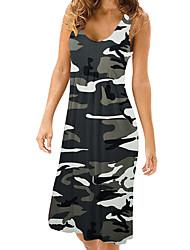 preiswerte -Damen Grundlegend Street Schick Hülle T Shirt Kleid - Druck, Einfarbig Tarnfarben Knielang