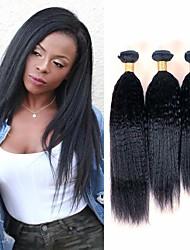 Недорогие -3 Связки Бразильские волосы Естественные прямые Не подвергавшиеся окрашиванию Wig Accessories Человека ткет Волосы Пучок волос 8-28 дюймовый Естественный цвет Ткет человеческих волос / Без запаха