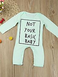 abordables -bébé Garçon Actif / Basique Géométrique / Imprimé Imprimé Manches Longues Coton Une-Pièce Bleu clair / Bébé
