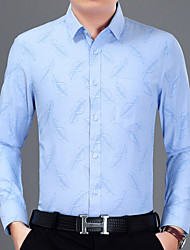 billige -Herre - Geometrisk Trykt mønster Skjorte Blå XL