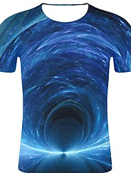 お買い得  -男性用 プリント Tシャツ パンク&ゴシック / 誇張された 3D / 虹色 / グラフィック ブルー XXL