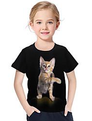 abordables -Enfants / Bébé Fille Actif / Basique Géométrique / Imprimé Imprimé Manches Courtes Polyester / Spandex Tee-shirts Noir
