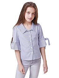 abordables -Enfants Fille Actif / Basique Rayé Imprimé Demi Manches Polyester Chemisier Bleu