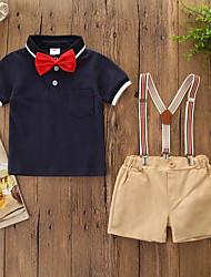 abordables -bébé Garçon Actif / Basique Couleur Pleine / Bloc de Couleur Noeud Manches Courtes Normal Coton Ensemble de Vêtements Blanc / Bébé