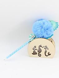 Χαμηλού Κόστους -πλαστικό ιππόκαμπο μαλλιά μπάλα μπλε μολύβι μολύβι μπάλα μπάλα σκάφη δώρα για τα παιδιά που μαθαίνουν γραφείο χαρτικά