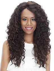 halpa -Synteettiset peruukit Kihara / Afro Tyyli Sivuosa Suojuksettomat Peruukki Tummanruskea Vaalean ruskea Ruskea / Burgundy Synteettiset hiukset 18 inch Naisten Muodikas malli / Naisten / synteettinen