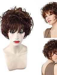 halpa -Synteettiset peruukit Kihara / Laineita Teaira Tyyli Pixie-leikkaus Suojuksettomat Peruukki Ruskea Beige Synteettiset hiukset 12 inch Naisten Säädettävä / Heat Resistant / Helppo pukeutuminen Ruskea