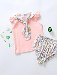 levne -Dítě Dívčí Základní Jednobarevné Tisk Krátký rukáv Standardní Standardní Bavlna Sady oblečení Světlá růžová