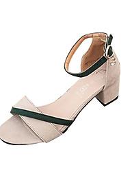 ราคาถูก -สำหรับผู้หญิง PU ฤดูร้อน ไม่เป็นทางการ รองเท้าแตะ ส้นหนา สีดำ / ผ้าขนสัตว์สีธรรมชาติ