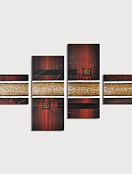 tanie -Hang-Malowane obraz olejny Ręcznie malowane - Abstrakcja Nowoczesny Naciągnięte płótka / Cztery panele