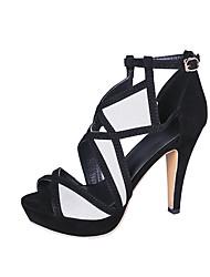povoljno -Žene Brušena koža Proljeće ljeto Uglađeni Sandale Stožasta potpetica Peep Toe Kopča Crn / Sive boje / Zabava i večer