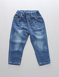 abordables -Enfants Garçon Basique / Chic de Rue Couleur Pleine Découpé / Troué / Déchiré Coton Jeans Bleu