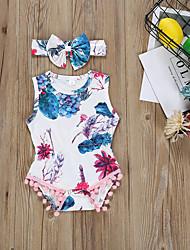 abordables -bébé Fille Basique Fleur Imprimé Sans Manches Coton Une-Pièce Blanc