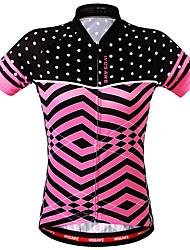 Недорогие -WOSAWE Жен. С короткими рукавами Велокофты Розовый Велоспорт Толстовка Джерси Верхняя часть Дышащий Задний карман Впитывает пот и влагу Виды спорта Полиэстер Горные велосипеды Шоссейные велосипеды