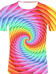 voordelige -Heren Rock / overdreven Print T-shirt Gestreept / 3D / Grafisch Regenboog XXL