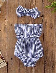 abordables -bébé Fille Actif / Basique Rayé Noeud Sans Manches Coton / Spandex Le maillot de corps Bleu