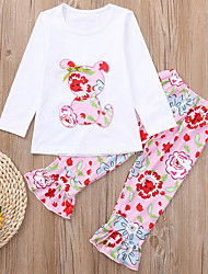 levne -Děti / Toddler Dívčí Základní Květinový / Komiks Tisk Dlouhý rukáv Standardní Standardní Bavlna Sady oblečení Světlá růžová