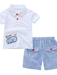 billige -Baby Drenge Afslappet / Basale Geometrisk / Trykt mønster Trykt mønster Kortærmet Normal Bomuld Tøjsæt Hvid