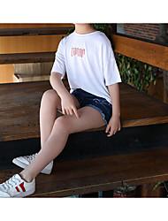 abordables -Enfants Fille Actif / Chic de Rue Couleur Pleine / Géométrique Imprimé Demi Manches Coton / Spandex Tee-shirts Blanc