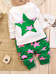 cheap -Kids / Toddler Boys' Basic / Street chic Polka Dot / Galaxy / Cartoon Print Long Sleeve Long Long Cotton / Spandex Clothing Set Green